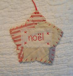 Star CHRISTMAS Starz Ornament - NOEL - Stitched From Recycled Vintage Quilt Piece on Etsy, $7.00