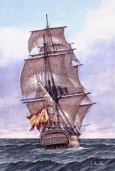 Pintura Militar y Naval: Navío San Genaro visto desde su Popa                                                                                                                                                                                 Más