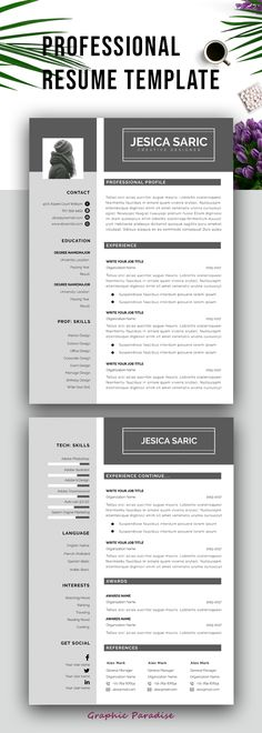 Resume template, Professional resume template instant download - download resume template