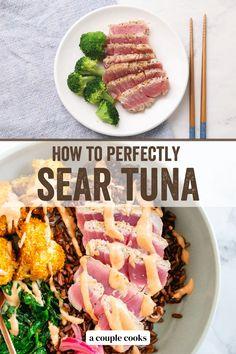 Healthy Tuna Recipes, Salmon Recipes, Veggie Recipes, Seafood Recipes, Cooking Ahi Tuna, Tuna Meals, Dinner Recipes Easy Quick, Quick Meals, Seared Tuna