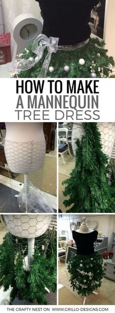 how-to-make-a-mannequin-tree-dress-grillo-designs-www-grillo-designs-com - Christmas crafts - Manequin Christmas Tree, Dress Form Christmas Tree, Christmas Tree Themes, Christmas Projects, Holiday Crafts, Christmas Holidays, Christmas Ornaments, Christmas Christmas, Vintage Christmas