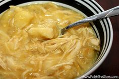 Slow-Cooker Chicken & Dumplings:   1 lb chicken breasts (3-5), 2Tb butter, 2 cans cream of chicken, 1 can (14oz) chicken broth, 1 medium onion (diced) and 4 Large flaky refrigerator biscuits.  Put everything but the biscuits in the crock pot and cook for 4-6 hours.  Shred chicken, put back in crock pot, add biscuits (all cut up in little pieces) cook on high for 30 minutes.  Mmmm....good!
