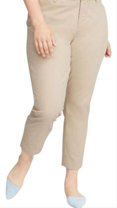"""CJ Banks Capris Beige Khaki Women's Size 18w Raw Edges Cropped Brand - CJ Banks Condition - Excellent gently owned condition (no stains, rips or damage) Size - 18w Measurements: Waist - 38"""" Inseam - 21"""" Rise - 13"""" (257) 