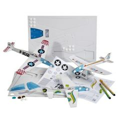 Airplane Flying Craft, Airplane Cardboard Craft Sets for kids, Set of 3 Flying Airplanes to decorate and assemble, Creative activity for children, Mes Avions by Mitik, Designed and made in France