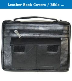 Leather Book Covers / Bible Covers with Handle (Black Regular). Leather Book Covers / Bible Covers. The leather book or Bible covers are quality constructed with full grain leather. The front outside features a zippered compartment and a pocket with Velcro closure. The backside features an additional zippered compartment. These storage compartments are great for pens, pencils, highlighters, notes, etc. Also, there is a leather carrying handle. Inside is lined with heavyweight nylon and has…