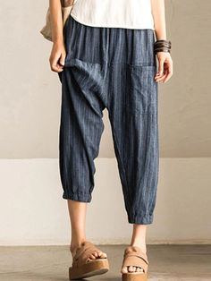 Stylish Medium Length Cotton Man Bloomers Pants in Blue Color - ishopshs Boho Pants, Linen Pants, Casual Pants, Loose Pants Outfit, Harem Pants Outfit, Comfy Pants, Cotton Pants, Women's Casual, Casual Wear