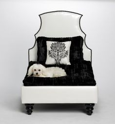 Black and White Dog Bed Small Dog Bed Luxury by PoochieofBevHills