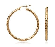 Faceted Hoop Earrings in 14k Yellow Gold  #bluenile