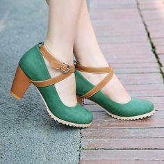 Womens Mary Jane Buckle Cross Fashion New Collegiate High Heel Pumps Shoes 4 5 8 | eBay