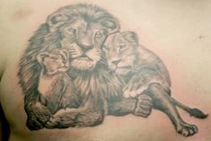 lion and cub tattoo on back lion and lioness tattoo
