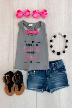 "Mommy & Me - ""Raised on Sweet Tea and Jesus"" Tank Tops (change sweet tea to something else) Little Girl Outfits, Little Girl Fashion, Toddler Outfits, Cute Outfits, Toddler Girl Style, Toddler Fashion, Kids Fashion, Toddler Girls, Moda Kids"