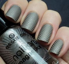 3 coats of Catrice Absolutely Chinchilly! Stamped with Essence Mystic Wish! and BM plate 201. Essence Matt top coat.