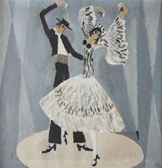 """Flamenco CONSTANTIN PILIUŢĂ 1929, Botoşani - 2003, Bucharest oil on canvas, 81 × 81 cm, signed bottom right, in black, C. Piliuţă Valoare estimativă: € 7.000 - 9.000 Prețul de pornire se va situa sub valoarea minimă a evaluării  Conservation status: for further technical details, do not hesitate to contact loredana.codau@artmark.ro Informații documentare: The artwork figures in """"Piliuţă"""" album, Mircea Grozdea, Ed. Meridiane, Bucharest, 1980."""