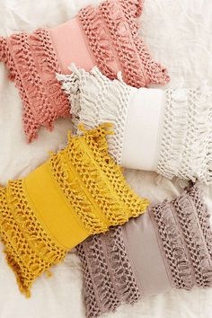 Venice Net Tassel Bolster Pillow   home   decor   accessories   pink   yellow   tan   gorgeous   #ad