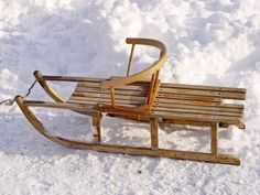 Some wooden sledge that seems to be left alone. Picture taken in Wald, Switzerland.