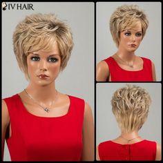 Siv Hair Short Side Bang Fluffy Slightly Curled Human Hair Wig
