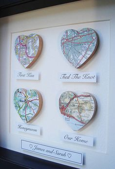 personalised map hearts story picture by little bird designs Paper Anniversary, Wedding Anniversary Gifts, 1st Year Anniversary Gift Ideas For Him, Homemade Anniversary Gifts, Homemade Wedding Gifts, First Anniversary, Map Crafts, Map Pictures, Heart Map