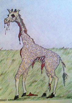 Zombie Giraffe, colored pencil drawing