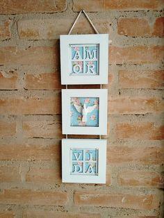 Trio de quadros em mdf decorado com papel de scrap, chippboard e Divino Espirito Santo