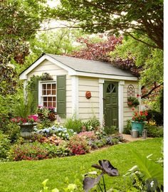 Are you looking garden shed plans? I have here few tips and suggestions on how to create the perfect garden shed plans for you. Backyard Studio, Backyard Sheds, Outdoor Sheds, Outdoor Rooms, Outdoor Living, Backyard Storage, Backyard Gazebo, Outdoor Gardens, Shed Landscaping