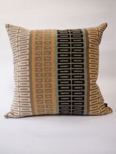 Celadon Green & Chartreuse Geometric Knitted Cushion - Jules Hogan Knitted Textiles