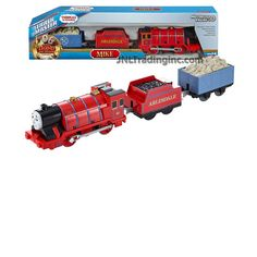 """Fisher Price Year 2015 Thomas and Friends """"Sodor's Legend of the Lost Treasure"""" Series Trackmaster Motorized Railway 3 Pack Train Set - MIKE the Strong Red Engine (CDB77) with 2 Cars and 1 Removable Cargo"""
