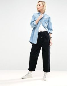 Comfy and stylish denim sporty oversized trousers