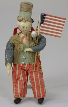 SPUN COTTON UNCLE SAM CHRISTMAS TREE ORNAMENT, Germany