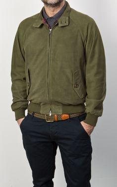 Baracuta G9 Slim Fit Harrington Jacket Leather Olive