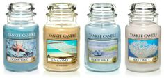 Yankee Candle's Beach Walk - Refreshing salt water and sea musk warmed with sunny notes of tangerine and orange blossom. Ocean Star - Soothing and fresh . . the scent of peaceful, sun-kissed waters laced with aloe, citrus, and lotus blossom. Dive in! Sea Coral - Like gliding along a tropical reef, this unique watery fresh fragrance surrounds you in the soothing warmth of sea musk. and Sun & Sand - A tropical beach breeze of sweet orange flower, lemony citrus, fresh lavender and powdery musk.