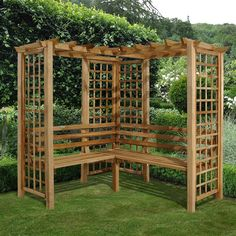 The Forest Sorrento Corner Garden Arbour is a traditional but simple Wooden Garden Arbour which is manufactured from pressure treated timber. Wooden Garden Seats, Wooden Arbor, Garden Seating, Corner Plant, Corner Garden, Diy Pergola, Pergola Ideas, Corner Pergola, Garden Arbour Seat