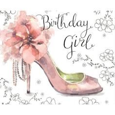 Twizler Happy Birthday Card For Her with Silver Foiling, Unique Watercolour Effect and Pink Shoe - Female Birthday Card Happy Birthday Wishes For Her, Happy Birthday Niece, Happy Birthday Flower, Birthday Cards For Women, Happy Birthday Messages, Happy Birthday Images, Happy Birthday Greetings, Girl Birthday, Women Birthday