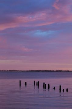 Mississippi Sound at Dusk: fine art photograph with water and sky in purple, pink, blue - by UninventedColors