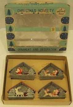 Lot 4 Vintage Shiny Brite Diorama Putz Scene Santa Reindeer Christmas Ornament