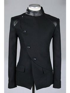 Men Fashion British Style Long Sleeve Slant Buttons Design Black Polyamide Coat M/L/XL@S0-6381-1b $53.83 only in eFexcity.com. ($50-100) - Svpply
