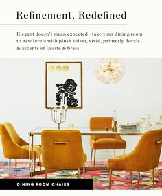 Dining: A Place to Gather Dining Room Chairs, Table And Chairs, Dining Tables, Beautiful Dining Rooms, Modern Chairs, Colorful Interiors, Mid-century Modern, Sweet Home, Kitchen Dining