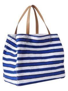 The perfect beach bag Handbags Online, Purses And Handbags, Ladies Handbags, Striped Tote Bags, Spring Bags, Striped Canvas, Big Bags, Casual Bags, Handbag Accessories