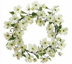 """22"""" White Dogwood Wreath - Brighten up your door with this crisp white wreath. Realistic looking white dogwood blossoms encircle the wire base. From the Valerie Parr Hill Collection on QVC."""