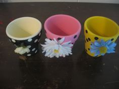 pots with silk flowers