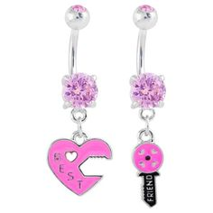 Pair of best friend belly button rings - Key to my heart