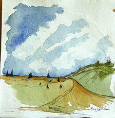 Original Watercolor Landscape on Paper  by ElissaSueWatercolors, $25.00