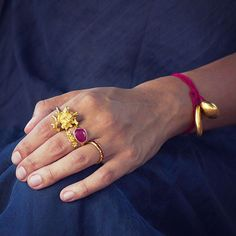 Delicate nature inspired gold rings #PippaSmall #PippaSmallJewellery #EthicalJewellery #EthicallyMade #Gold #Rings #CoralRing #Ruby #GreekRing #ThreeFlowerRing