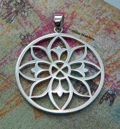 Large Sterling Silver Open Work Mandala by carolinabeadshop, $29.65