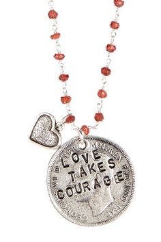 Love Takes Courage Coin Necklace on HauteLook