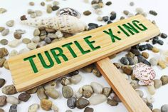 TURTLE X-ING Caution Sign, TORTOISE Yard Sign, Hand Routed Green Sign