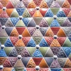 Love the color combinations in this tile from Japan