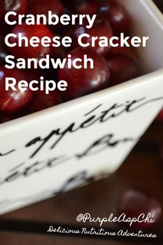Cranberry Cheese Cracker Sandwich Makes 1  1 teaspoon cream, goat, or spreadable cheddar 1 teaspoon cranberry sauce 2 whole grain crackers  Spread the cheese on top of one cracker. Spread the cranberry sauce on top of the cheese. Place the second cracker on top. Enjoy. #Cranberry #Recipe #Holiday #Nutritious #Delicious #PurpleAsparagus   #FoodEducation