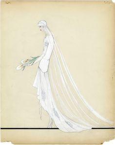 original 1920s wedding dress sketch