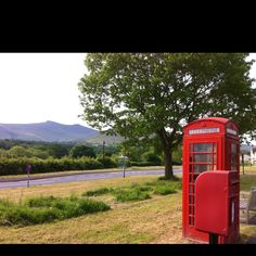 Traditional Brecon Beacons with Pen y Fan in background and red postbox and telephone box in foreground Brecon Beacons, Post Box, Torchwood, Telephone, Playground, Wales, Affair, Britain, Ireland