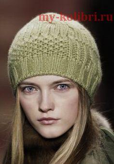 Как связать шапку спицами комбинированным узором: схема и описание вязания на сайте Колибри. Рекомендую такую шапочку молодым девушкам, которым нравится спортивный стиль, и кежуал стиль в одежде.